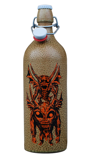 by Mat Brinkman adorn a 750 mL earthenware bottle filled with Bokrijks Belgian Ale.